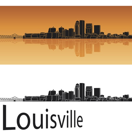 Louisville skyline in orange background in editable file Vector