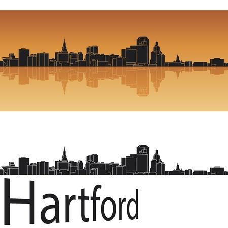 Hartford skyline in orange background in editable file Stock Vector - 18698195
