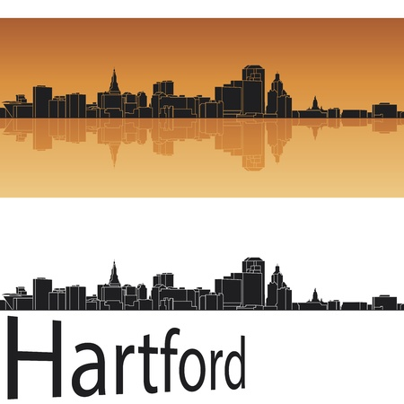 Hartford skyline in orange background in editable file Stock Vector - 18698195