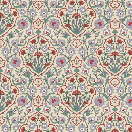 arabesque wallpaper: Arabesque seamless pattern with carnations in editable vector file