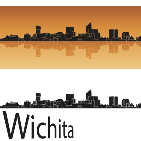 Wichita skyline in orange background in editable  Vector