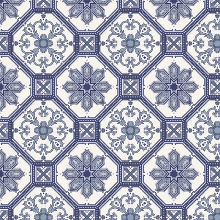 ペルシア: アラベスク ブルーとグレーの編集可能なファイルにシームレスなパターン