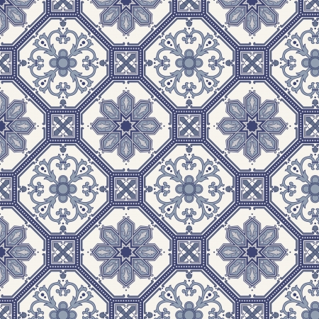 persian: Arabesque seamless pattern in blue and grey in editable file