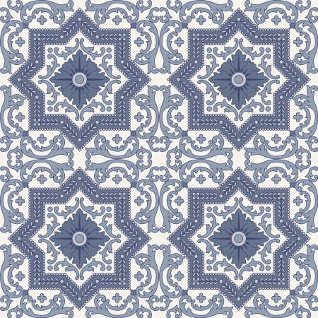 persian art: Arabesque seamless pattern in blue and grey in editable file