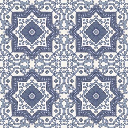 Arabesque seamless pattern in blue and grey in editable file Vektoros illusztráció