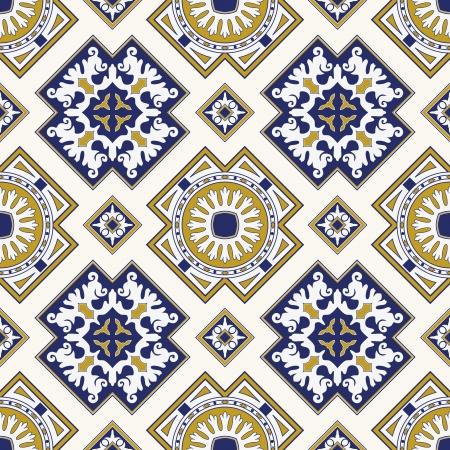 파란색과 노란색의 클래식 한 빈티지 원활한 패턴 일러스트