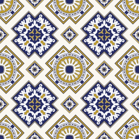continuous:  classic vintage seamless pattern in blue and yellow