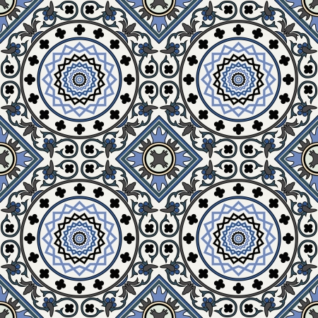Arabesque seamless pattern in blue  Vector