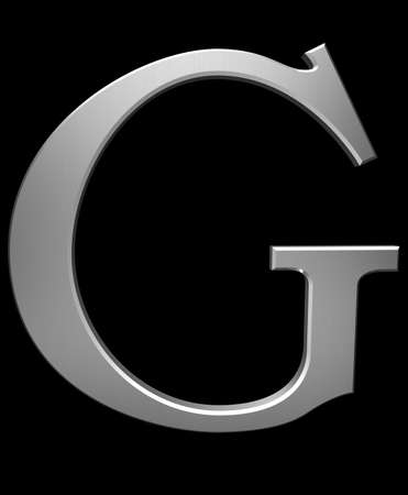 Letter G in brushed steel isolated on black with clipping path photo