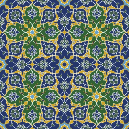 persian: Arabesque seamless pattern in blue and green