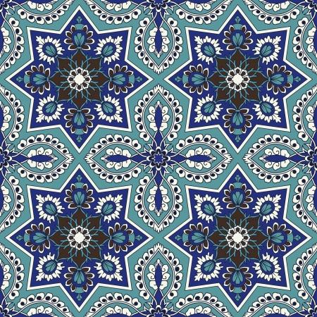 barok ornament: Arabesque naadloze patroon in blauw en turquoise in bewerkbare bestand