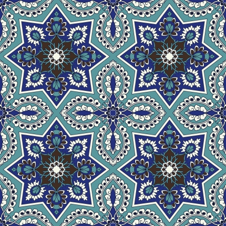 Arabesque seamless pattern in blue and turquoise in editable file Vector