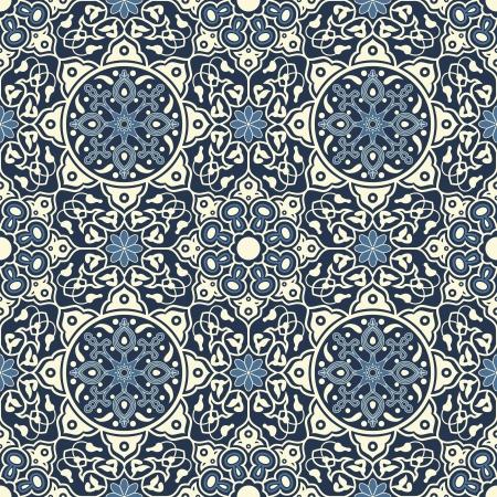 patron islamico: Arabesque patr�n sin costuras en azul y blanco en el archivo editable