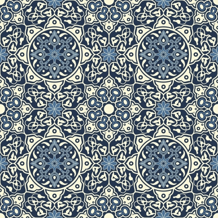 Arabesque seamless pattern in blue and white in editable  file Vector