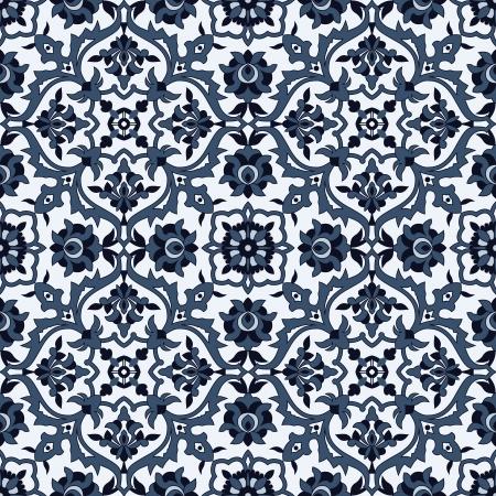 ペルシア: 青と白の編集可能なベクトル ファイルでシームレスな唐草模様