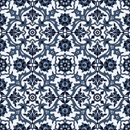 persian: Arabesque seamless pattern in blue and white in editable vector file