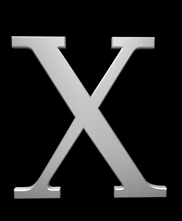 Letter X in brushed steel isolated on black with clipping path photo