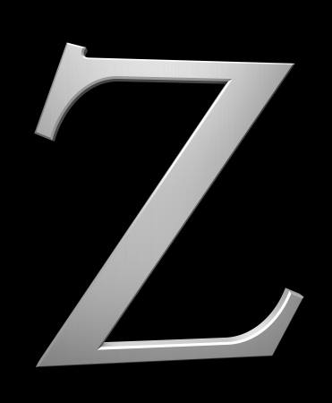 Letter Z in brushed steel isolated on black with clipping path photo