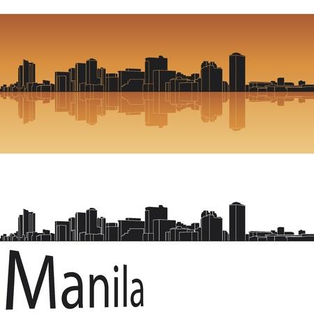 manila: Manila skyline in orange background
