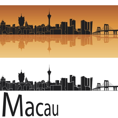macau: Macau skyline in orange background