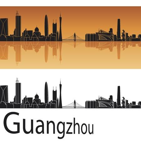 guangzhou: Guangzhou skyline in orange background  Illustration