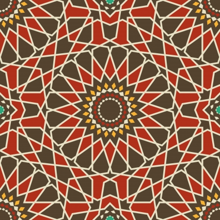 Arabesque seamless pattern in red and brown Illustration