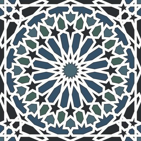 Arabesque naadloze patroon in blauw en zwart Stock Illustratie