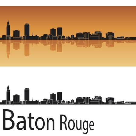 Baton Rouge skyline in orange background in editable  Vector
