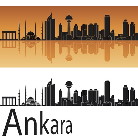 anatolia: Ankara skyline in orange background in editable