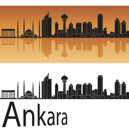 horizons: Ankara skyline in orange background in editable