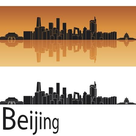 Beijing skyline in orange background in editable