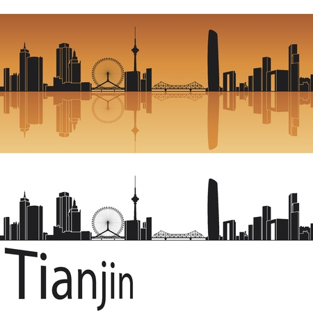 reflected: Tianjin skyline in orange background in editable vector file