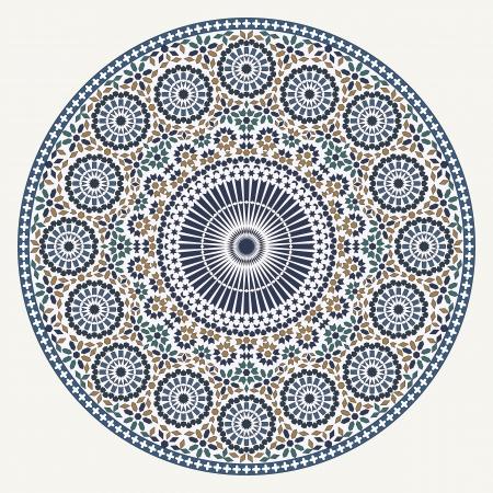 편집 가능한 벡터 파일에 흰색 배경 위에 아랍어 원형 패턴