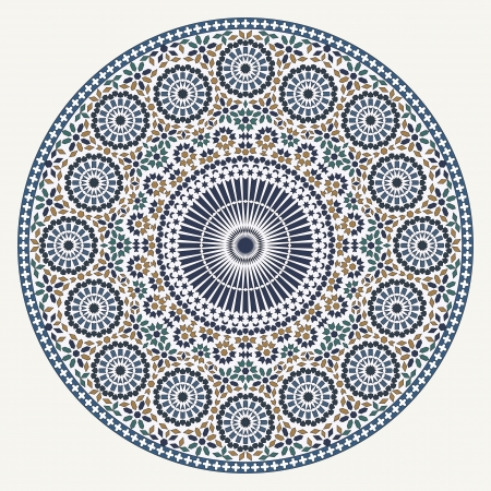 arabesque: Arabic modello circolare su sfondo bianco in file vettoriali modificabili
