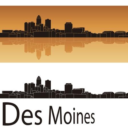des: Des Moines skyline in orange background in editable file