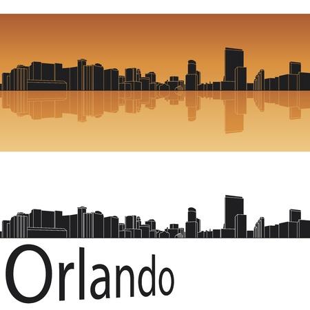 orlando: Orlando skyline in orange background in editable file