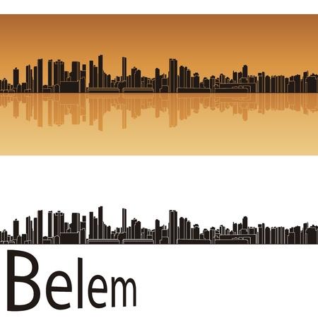 belem: Belem skyline in orange background in editable file