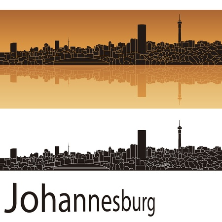 johannesburg: Johannesburg skyline in orange background in editable file