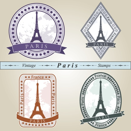 Vintage stamp from Paris in four colors editable  Vector