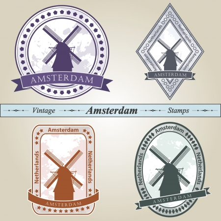 Vintage stamp from Amsterdam in four colors editable Vector