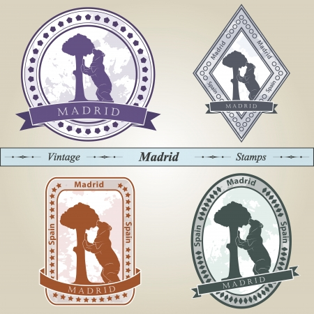 Vintage stamp from Madrid in four colors editable  Vector