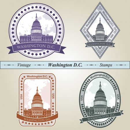 dc: Vintage stamp from Washington DC in four colors editable  Illustration
