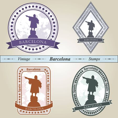 Vintage stamp from Barcelona in four colors editable Stock Vector - 20941161