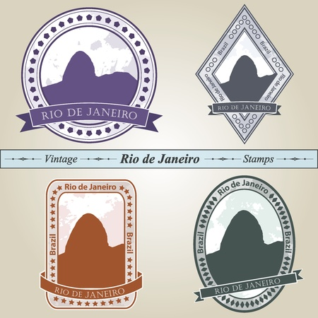 southamerica: Vintage stamp from Rio de Janeiro in four colors editable file