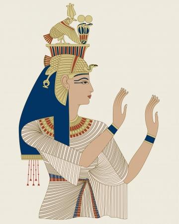 이집트 여왕 Taia, 왕조 XVIII의 Amenophis III의 아내의 초상화 일러스트
