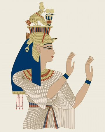 Portrait of Egyptian Queen Taia, wife of Amenophis III of Dynasty XVIII Vector