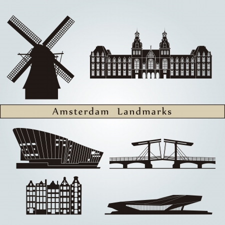 Amsterdam landmarks and monuments isolated on blue background in editable vector file Vector