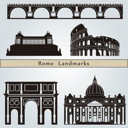 ローマの名所やモニュメントの編集可能なベクトル ファイルの青色の背景に分離