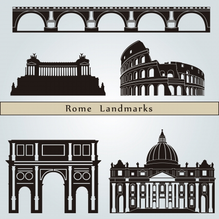 Rome landmarks and monuments isolated on blue background in editable vector file Imagens - 21521503