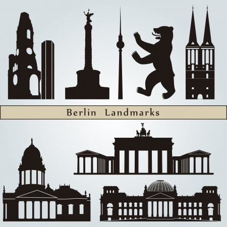 Berlin landmarks and monuments isolated on blue background in editable vector file Vector